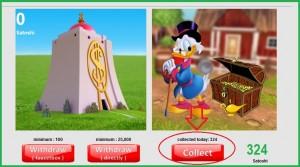 Игровой сайт для заработка биткоинов с героями мультфильма Уолта Диснея. Дядюшка Скрудж.